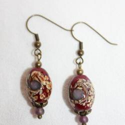 Vintage Style Czech and Porcelain Dangle Earrings